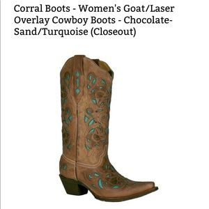 Corral Rodeo Tan n Teal Boots size 8.5